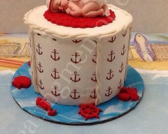 Nautical Cake Topper White And Red Fondant Styrofoam