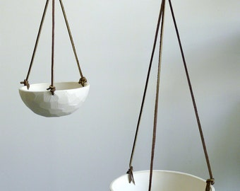 On Sale, Hanging Porcelain Planter with Leather Cord Size Small Geometric Carved or Smooth Texture