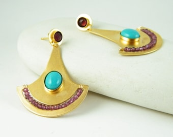 Turquoise gold earring with Garnet bohemian earrings Egyptian jewelry