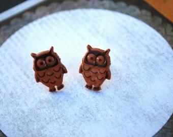 Owl Earrings -- Owl Studs, Brown Owl Earrings, Hoot Hoot, Owl