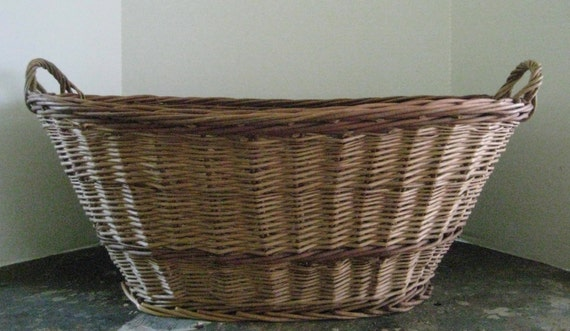 Vintage Hand Woven Wicker Laundry Basket // Made In Holland