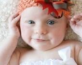 Babys First Thanksgiving Hair Bow - Thanksgiving Hair Bow - Brown Orange Hair Bow - Thanksgiving Headband - Newborn Hair Bow - Infant Bow