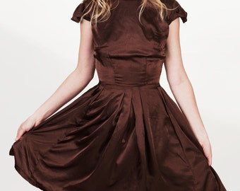 Brown Satin Fitted Full Skirt Cocktail Pleated Dress with Cap Sleeves