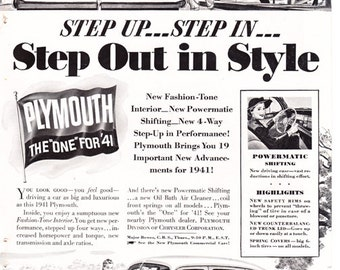 vintage ad for a 1941 Plymouth, 'Step out in Style!'