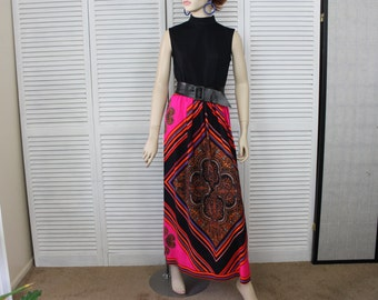 Vintage 1960s Long Sleeveless Maxi Dress Hot Pink Psychedelic Skirt/Black Top Size Small