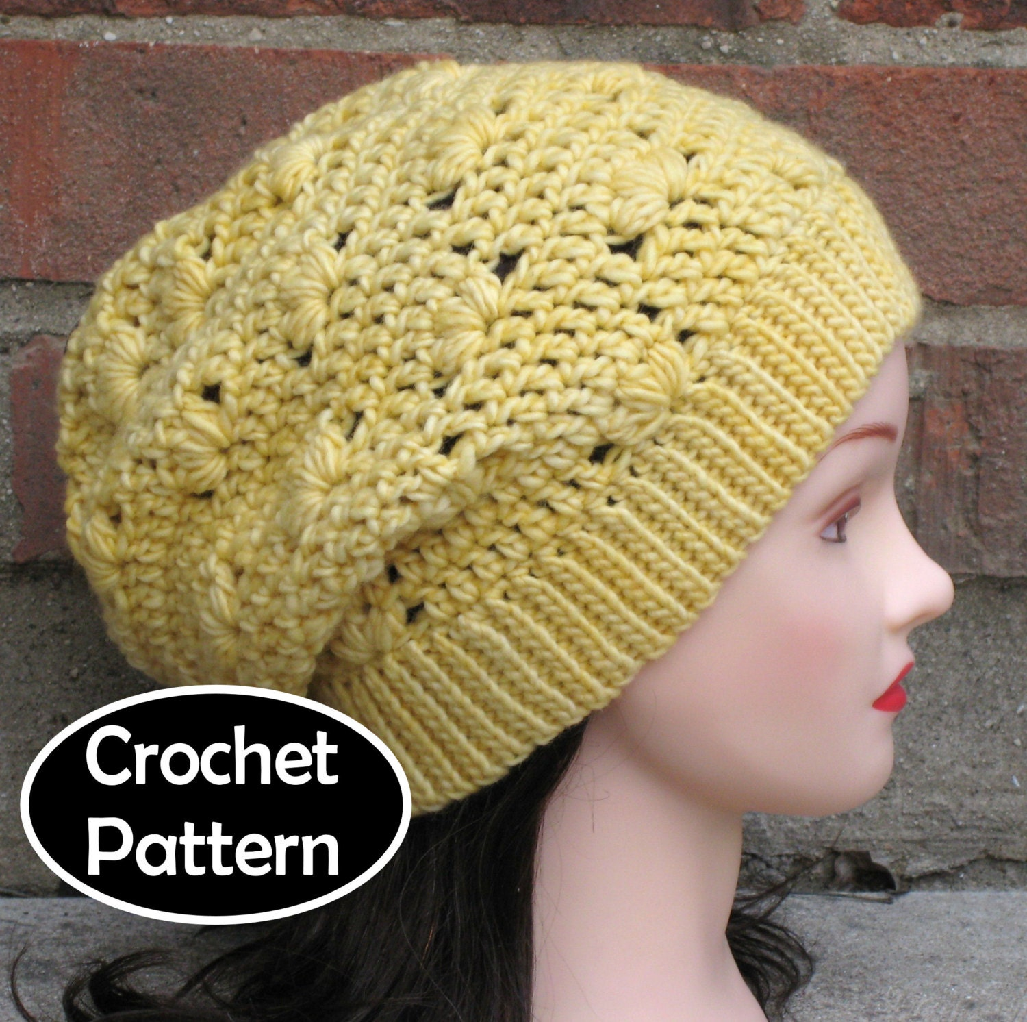 Crochet Hat Pattern Download : CROCHET HAT PATTERN Instant Download Pdf Elle Slouchy Beanie