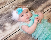 Aqua Blue and White Feather Headband - Newborn Baby Little Girls Hair Bow - Aqua Flower and Sparkling Rhinestone Hairbow - Spring Couture
