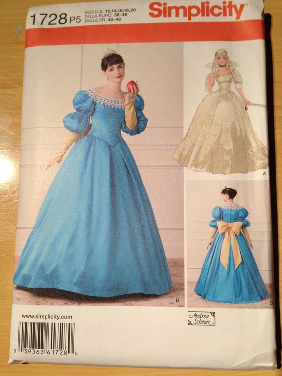 Simplicity Sewing Pattern 1728 Uncut Misses Fairytale Gown Size 12-20