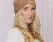 Knitted Turband Headband Caramel Ear Warmer Winter Hair Bands Twist Style Wide Headband (KHB-01) - ThreeBirdNest