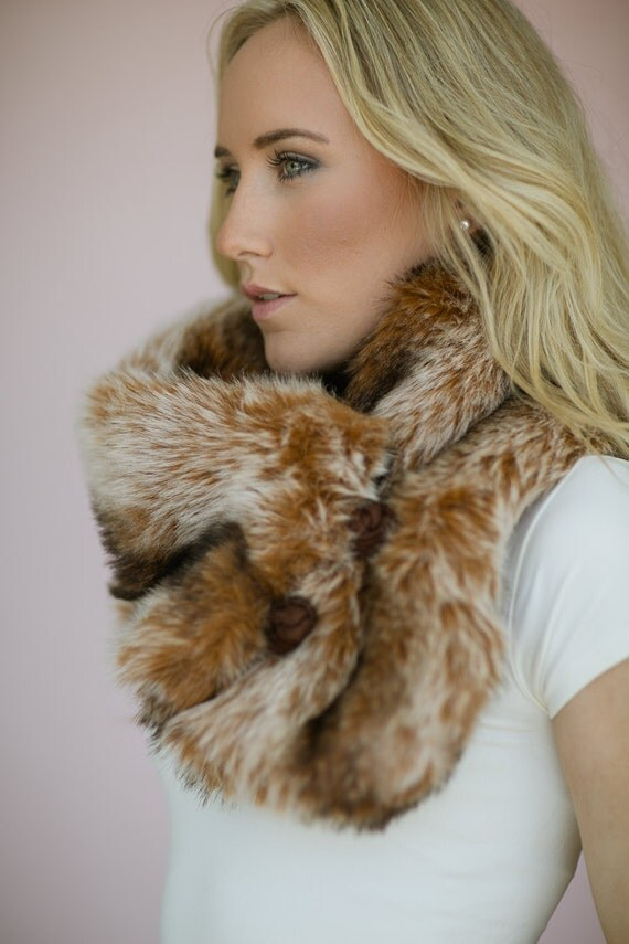faux fur collar infinity bohemian scarf layering by