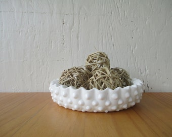 Fenton Hobnail Milk Glass Ashtray or Candy Dish Vintage 1950-60s
