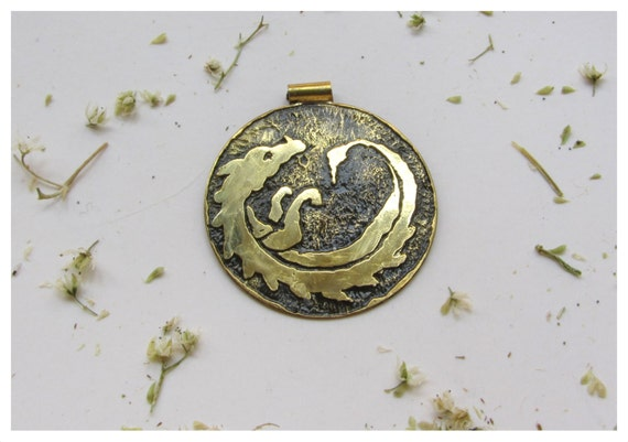 Dragon Egg Pendant. The House Targaryen. Etched brass, fully hand made.
