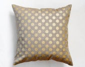 Linen gray pillow cover with gold print dots - decorative covers - shams - throw pillows - polka dot pattern- 18x18    0097
