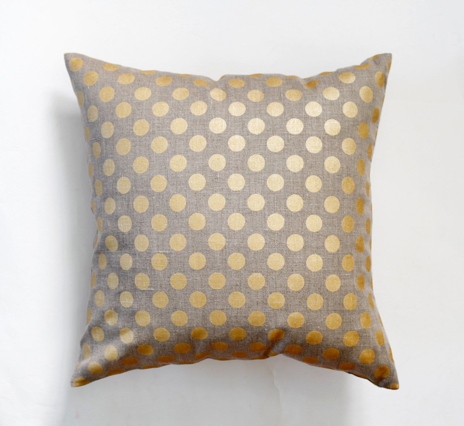 Decorative Linen Pillow Covers : Linen gray pillow cover with gold print dots decorative