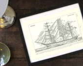 1908 Vintage sailboat print Tall ship poster Ship gift Maritime gift Navy gift square rig ship navy flags boating French dictionary page