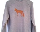 Fox Stencil Print Sweatshirt - Lovely soft organic cotton sweatshirt hand stencilled with our favourtie fox print