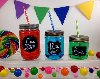 6 CLEAR Plastic 17 oz Mason Jars with Daisy Cut Lids - Choose from 3 Different Lid Colors Candle Making, Kids, Crafts