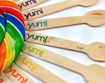 12 Yummy SMALL Wooden Cupcake/  Ice cream Spoons, Custom Colors Available, Wooden cutlery, silverware, kids party,  birthday