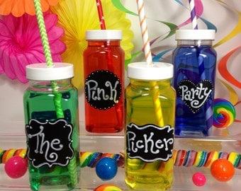 12 Square Plastic Bottles - 8 oz - Beverage, Juice, Milk Container.  Wedding Favor, Birthdays, Kids Party
