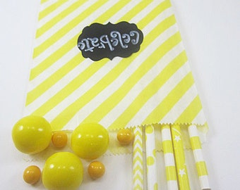 24- 5X7 Yellow and White Diagonal Striped Bags, Treat Bags, Favors, Candy Buffet, Wedding