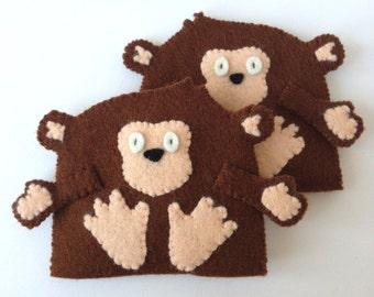 Egg Cosy Wool Felt Monkey Pair Brown