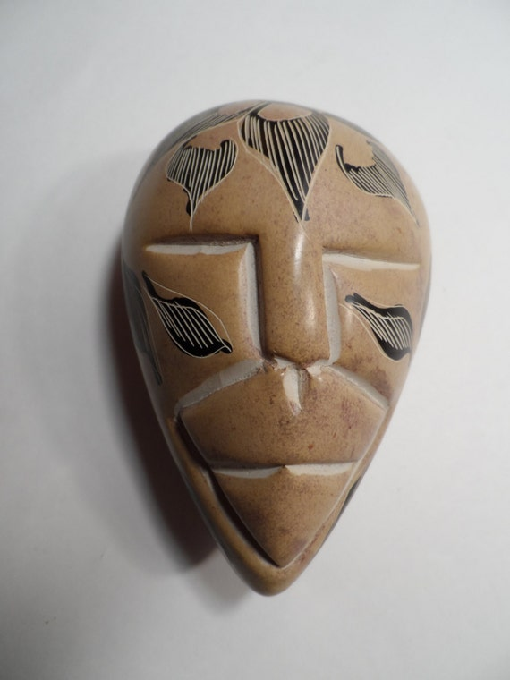 Hand carved painted kenya african soapstone face tribal mask