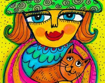Girl And Cat Print, Whimsical Girl Art, Cat Art, Girls Room Decor, Funny Cat Print, Best Friends by Paula DiLeo