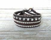 Wrap Bracelet Set, Boho Wrap, Leather Bracelet, Everyday Jewelry, Handmade Bracelets, Stacking Bangles, Statement piece, Gift for Her