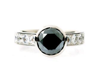 Black diamond engagement ring, white sapphires, engagement ring, solitaire, bezel, sapphire, Diamond, white gold, black diamond engagement