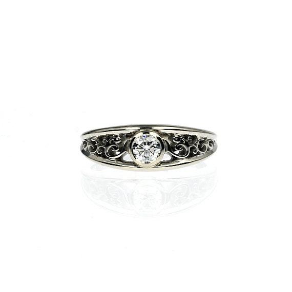 ring white gold filigree engagement ring bezel