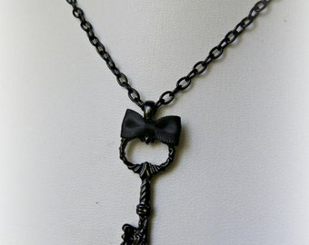 Black Gothic Victorian key necklace.