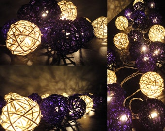 Battery Powered LED Bulbs 20 Mixed Purple Rattan Balls Fairy String Lights Party Party Patio Wedding Floor Hanging Gift Home Decor