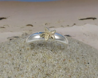 14k Gold and Sterling Silver Stacking Star Fish Ring