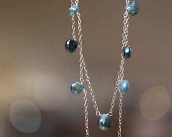 Blue Sapphire Necklace - Dainty Briolette Station Necklace on Gold Chain, Birthstone Jewelry, Style Number 551