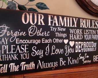 Horizontal Family Rules Word Art/Typography Subway Primitive Sign