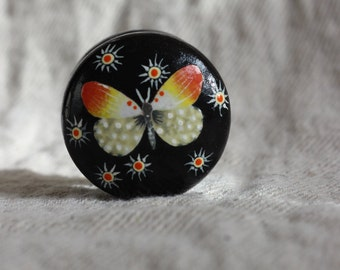black dresser knob, orange white butterfly design, hand painted knob, decoupage furniture, painted cabinet knob, decoupage drawer pulls LUSH