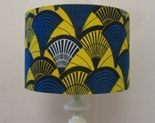 Bright Yellow And Blue Batik Print Drum Lampshade Or Ceiling Light Shade - Fits UK & European Light Fittings