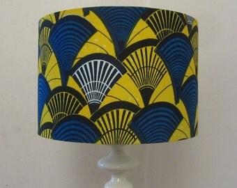 Bright Yellow And Blue Batik Print Drum Lampshade  - Fits UK & European Light Fittings