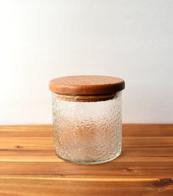 retro textured glass jar canister with wooden lid teak. Black Bedroom Furniture Sets. Home Design Ideas