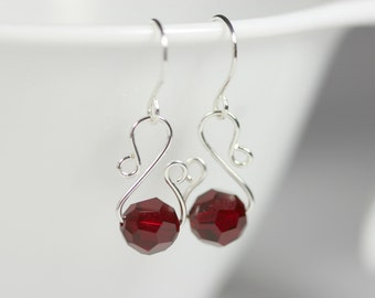 Garnet Earrings Wire Wrapped Jewelry Handmade Sterling Silver Jewelry Handmade Dark Red Earrings Swarovski Crystal Earrings Swarovski Jewelr