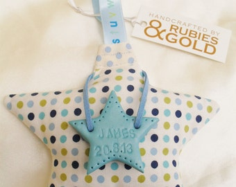 Hanging STAR, New Baby Boy Gift - Padded Star PERSONALISE with handstamped Clay Star