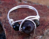 Natural Black Tourmaline Ring - Sterling Silver Ring, Black Tourmaline Jewelry, Best Friend Rings, Natural Stone, Metaphysical Jewelry, Gift