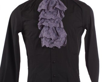 Five Row Gathered Lace Jabot - Purple - Dickens