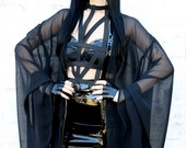 ADELE PSYCH ' Sorceress' Glam Goth Rock Witch Style Floaty Black Chiffon and PVC Cloak Duster Jacket
