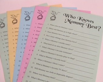 Baby Shower Game - Who Knows Mommy Best - PRINT YOUR OWN - Daddy available