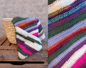 Crocheted hooded striped baby blanket colourful green neon pink purple