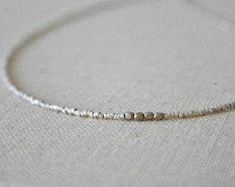 Silver micro heishi necklace //