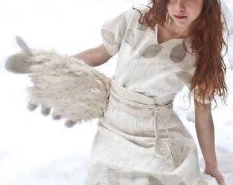Eco style and boho chic fashion felted white dress from natural silk and A-Grade wool (with natural leafs) OOAK