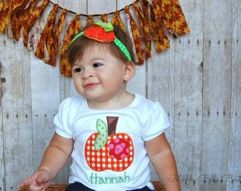 Gingham Pumpkin Applique Shirt - Embroidered Shirt, Personalized Shirt, Pumpkin, Fall Shirt, Girls, Boys, Children's Clothing