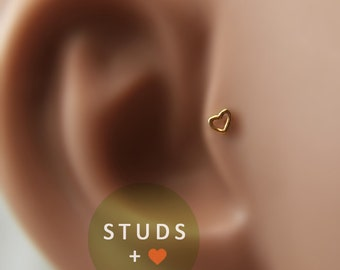 TRAGUS or CARTILAGE /Romantic Heart/ 3mm/ 24k Gold Plated/ Piercing/ Cartilage Earrings/ Nose ring/ Hoop nose/ Helix Earrings